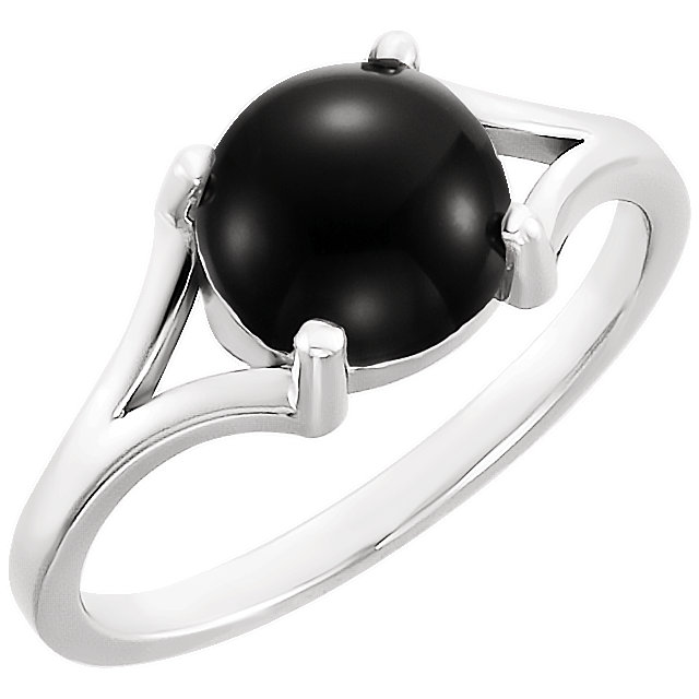 Great Gift in 14 Karat White Gold 6mm Round Onyx Cabochon Ring