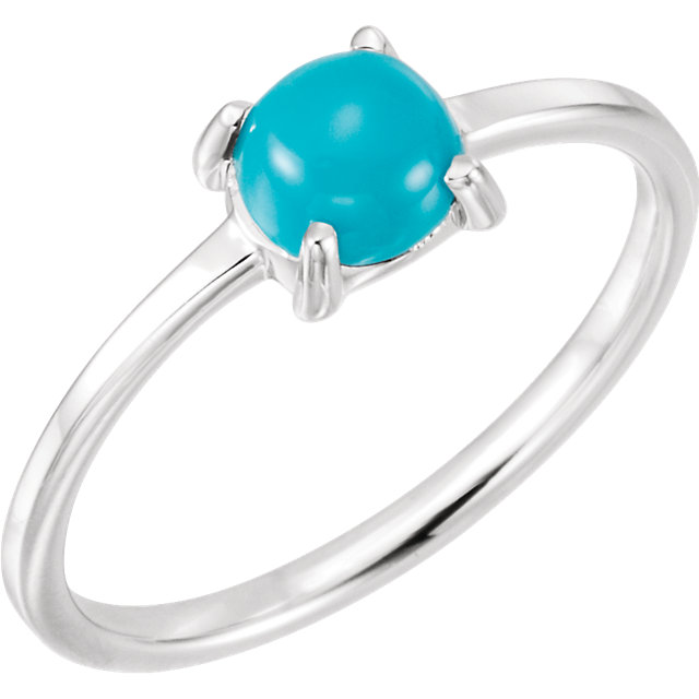 14 KT White Gold 6mm Round Turquoise Cabochon Ring
