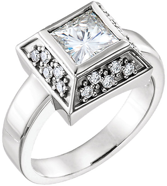 14 Karat White Gold 6mm Square Charles & Colvard Moissanite and 1/3 Carat Total Weight Diamond Accented Ring