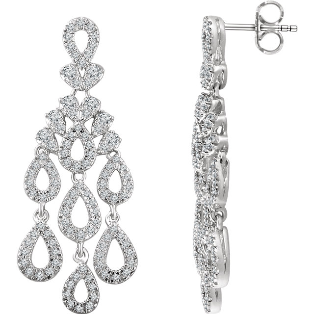 Perfect Gift Idea in 14 Karat White Gold 0.85 Carat Total Weight Diamond Dangle Earrings
