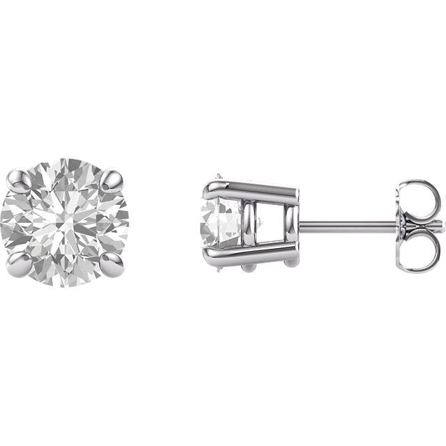 Perfect Jewelry Gift 14 Karat White Gold 7mm Round Genuine Charles Colvard Forever One Moissanite Earrings