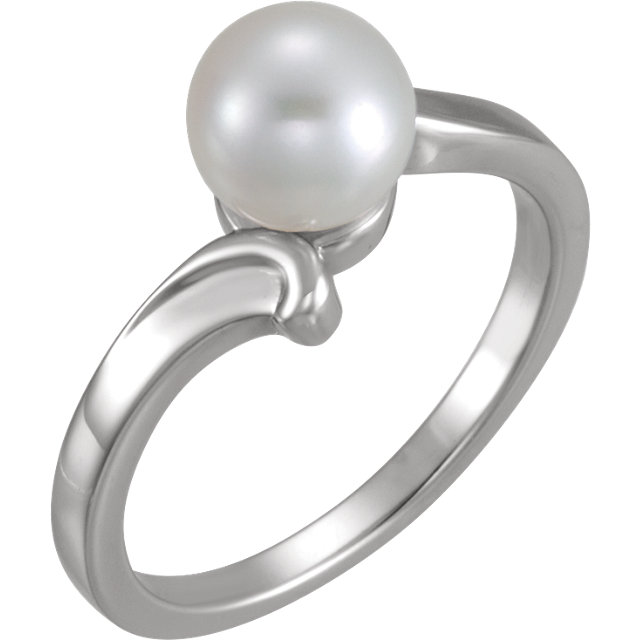 Contemporary 14 Karat White Gold 7mm Solitaire Ring for Pearl