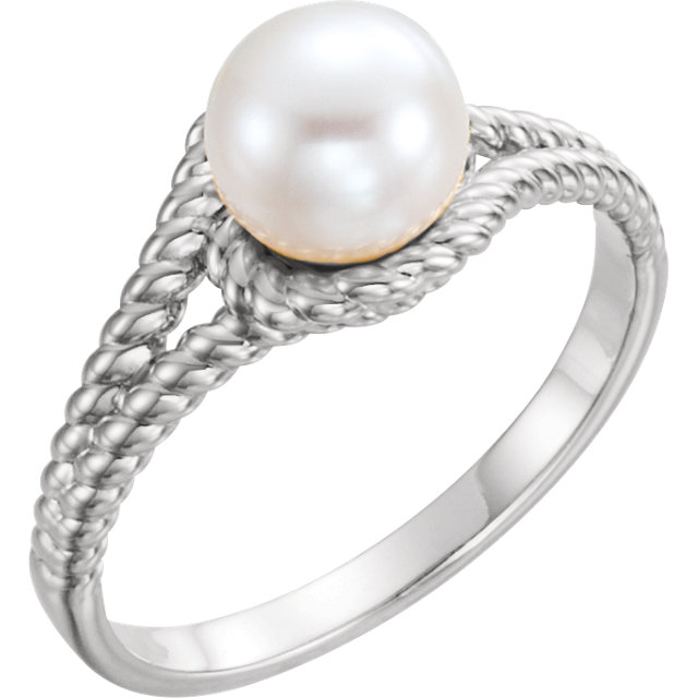 Buy Real 14 KT White Gold 7mm White Freshwater Pearl Rope Ring