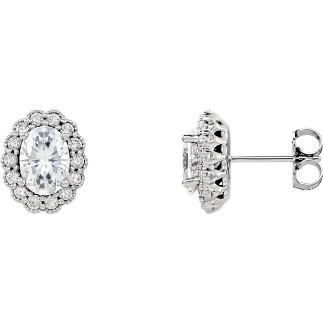 Great Buy in 14 Karat White Gold 7x5 Oval Genuine Charles Colvard Forever One Moissanite & 0.40 Carat Total Weight Diamond Earrings