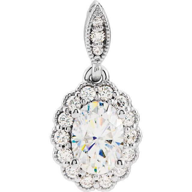 Easy Gift in 14 Karat White Gold 7x5mm Oval Genuine Charles Colvard Forever One Moissanite & 0.20 Carat Total Weight Diamond Pendant