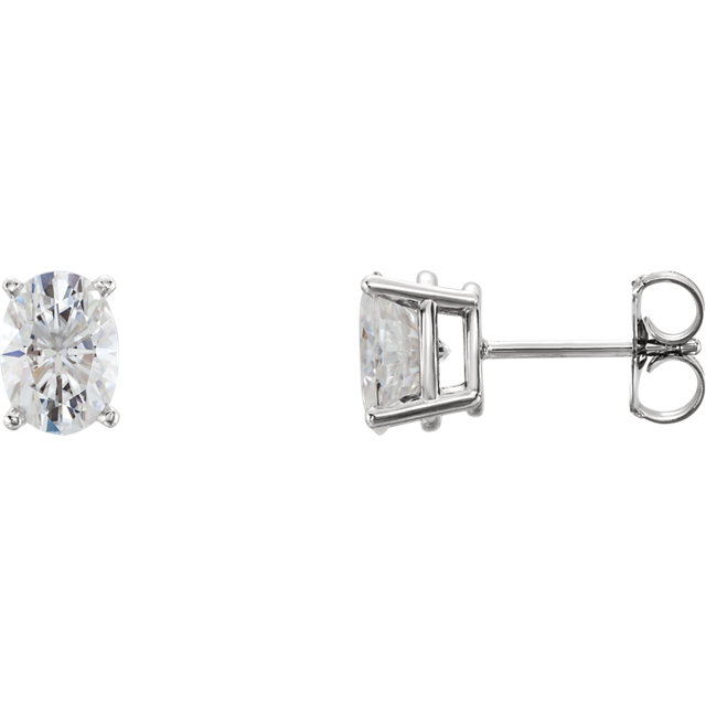 Great Buy in 14 Karat White Gold 7x5mm Oval Genuine Charles Colvard Forever One Moissanite Earrings