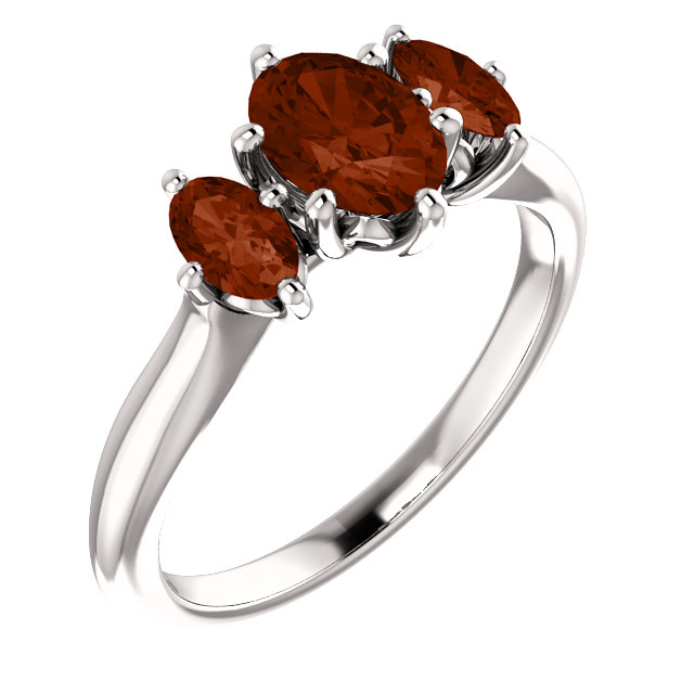 Wonderful 14 Karat White Gold 7x5mm Oval Garnet Ring