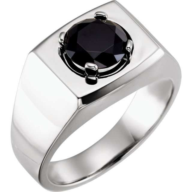 Eye Catchy 14 Karat White Gold 8.2mm Round Onyx Men's Ring