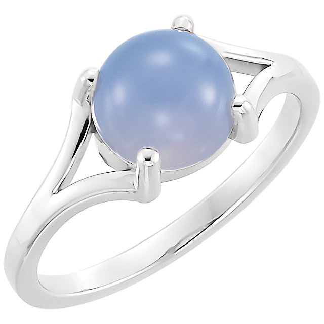 Great Buy in 14 KT White Gold 8mm Round Blue Chalecedony Cabochon Ring