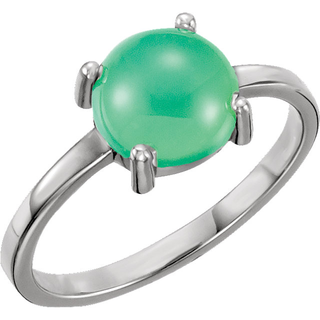 Appealing Jewelry in 14 Karat White Gold 8mm Round Chrysoprase Cabochon Ring