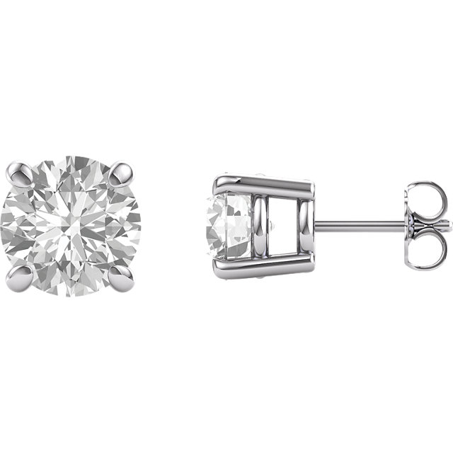 Gorgeous 14 Karat White Gold 8mm Round Genuine Charles Colvard Forever One Moissanite Earrings