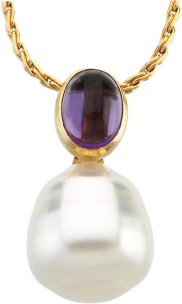 14 Karat White Gold 8X6mm Amethyst & 12mm South Sea Cultured Circle Pearl Pendant