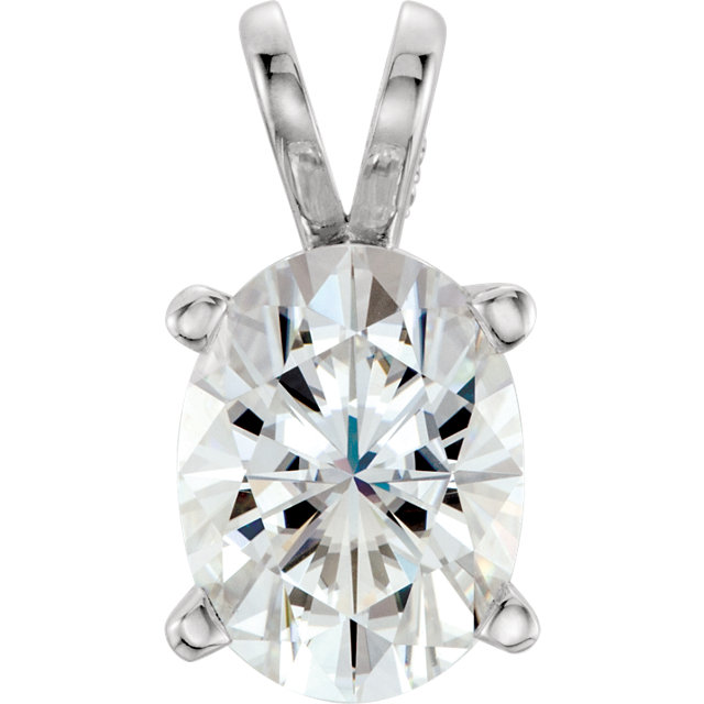 Wonderful 14 Karat White Gold 8x6mm Oval Genuine Charles Colvard Forever One Moissanite Pendant
