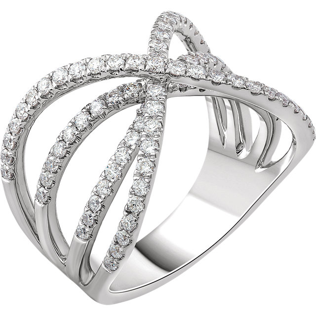 Shop Real 14 KT White Gold 0.90 Carat TW Diamond Criss-Cross Ring