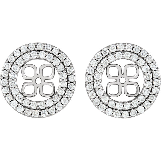 White Diamond Earrings in 14 Karat White Gold 0.90 Carat Diamond Earring Jackets for 8mm Pearl
