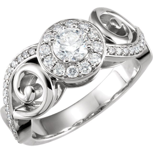 Shop 14 KT White Gold 0.90 Carat TW Diamond Infinity-Inspired Engagement Ring