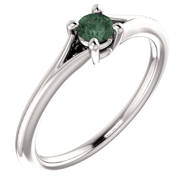Appealing Jewelry in 14 Karat White Gold Alexandrite Youth Ring