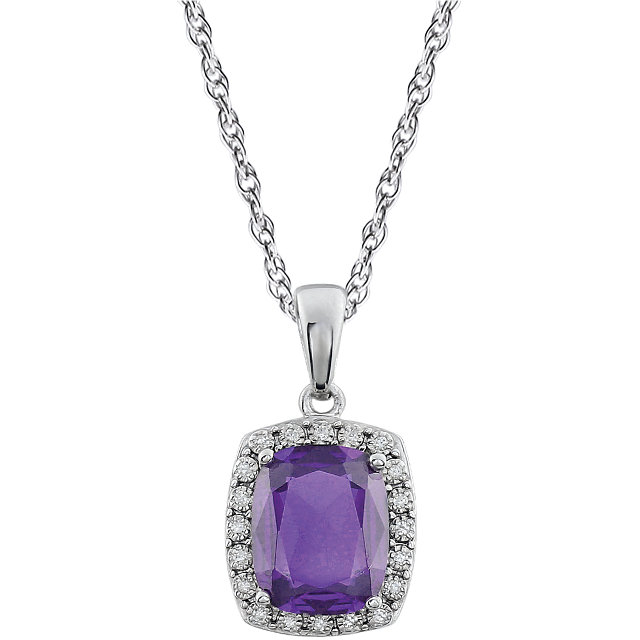 Must Have 14 KT White Gold Cushion Genuine Amethyst & .05 Carat TW Diamond Necklace
