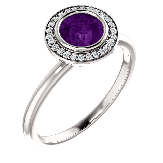 Surprise Her with  14 Karat White Gold Amethyst & .06 Carat Total Weight Diamond Ring