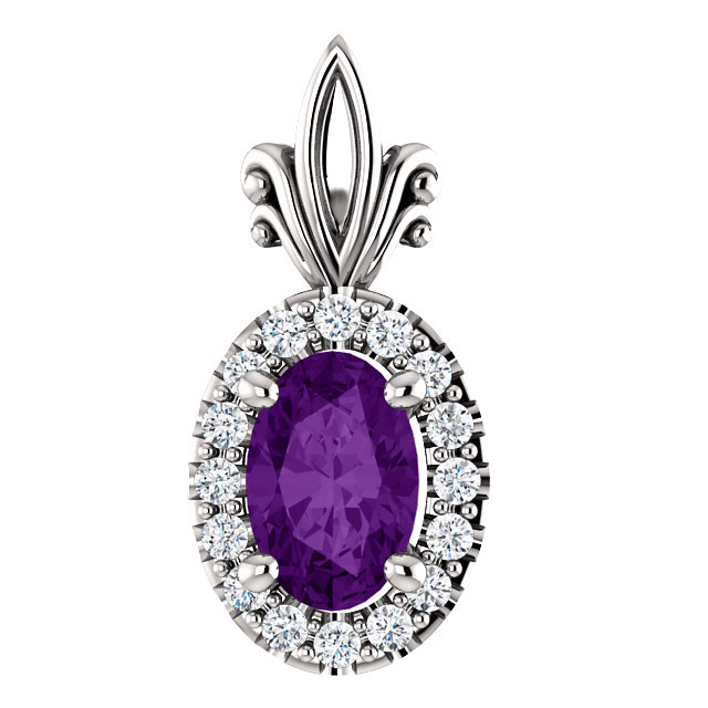 Beautiful 14 Karat White Gold Amethyst & .08 Carat Total Weight Diamond Pendant