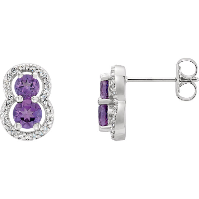 Stylish 14 Karat White Gold Round Genuine Amethyst & 1/6 Carat Total Weight Diamond Earrings