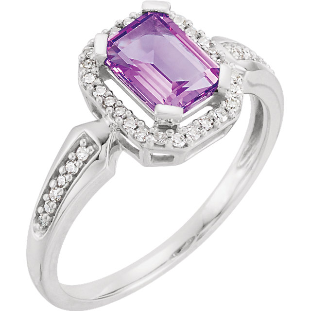 14 Karat White Gold Amethyst & 1/8 Carat Total Weight Diamond Ring