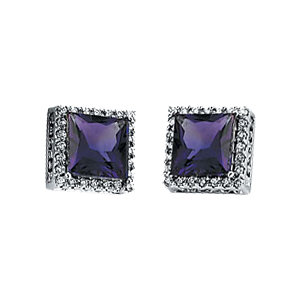 Must See 14 KT White Gold Amethyst & 0.40 Carat TW Diamond Halo-Style Earrings