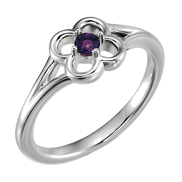 Contemporary 14 Karat White Gold Amethyst Flower Youth Ring