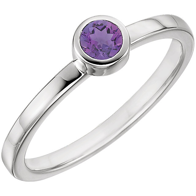 Very Nice 14 Karat White Gold Amethyst Ring