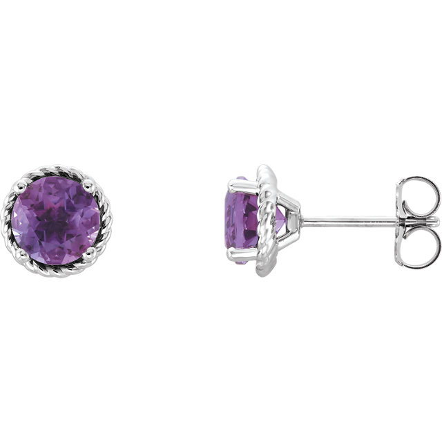 Low Price on Quality 14 KT White Gold Amethyst Rope Earrings