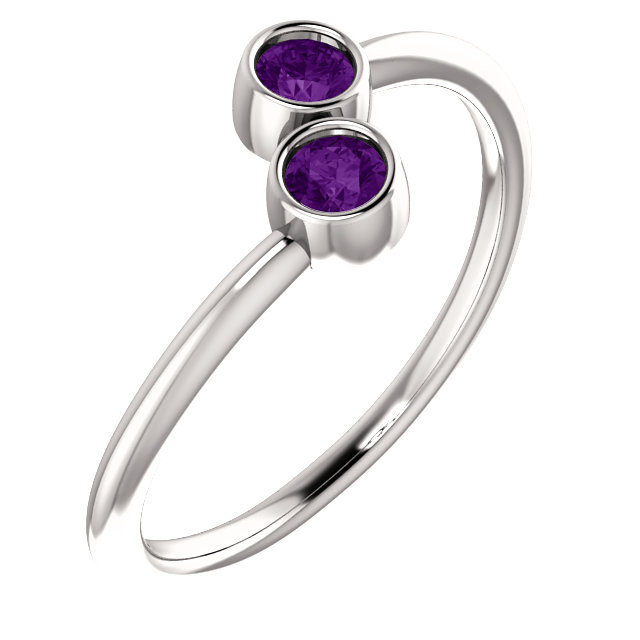 Great Buy in 14 Karat White Gold Amethyst Two-Stone Ring