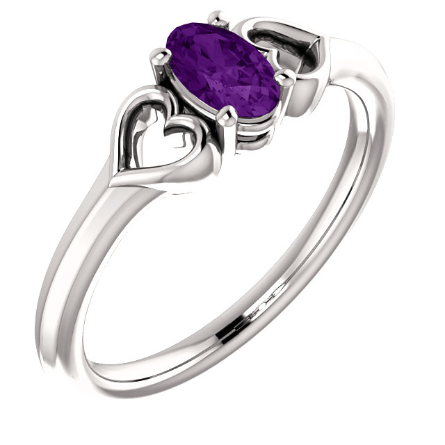 Jewelry Find 14 KT White Gold Amethyst Youth Heart Ring