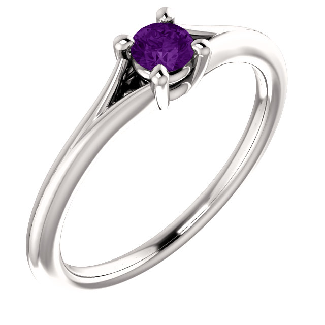 Appealing Jewelry in 14 Karat White Gold Amethyst Youth Ring