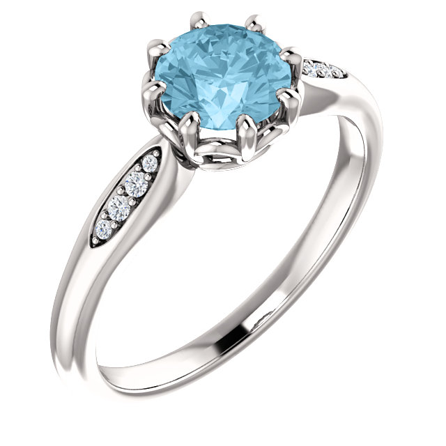 Gorgeous 14 Karat White Gold Aquamarine & .04 Carat Total Weight Diamond Ring