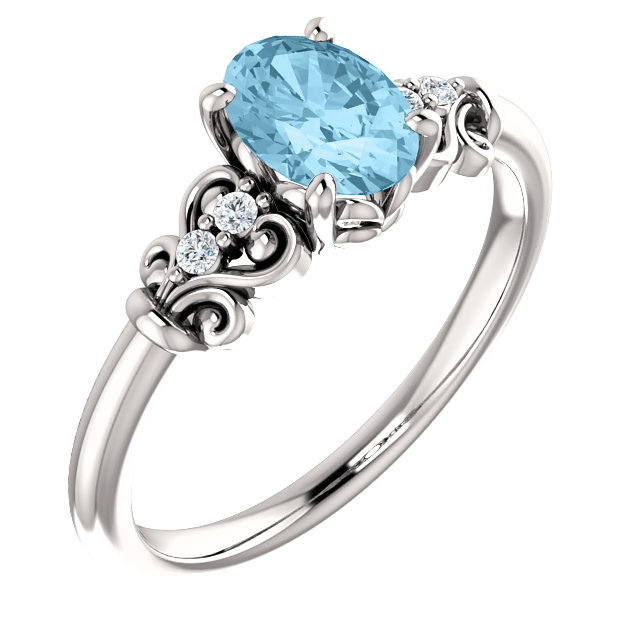 Great Gift in 14 Karat White Gold Aquamarine & .04 Carat Total Weight Diamond Ring