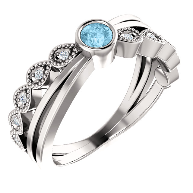 Perfect Gift Idea in 14 Karat White Gold Aquamarine & .05 Carat Total Weight Diamond Ring
