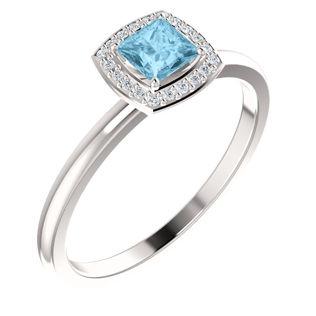 Contemporary 14 Karat White Gold Aquamarine & .05 Carat Total Weight Diamond Ring