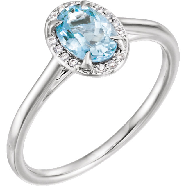 Great Buy in 14 Karat White Gold Aquamarine & .06 Carat Total Weight Diamond Ring