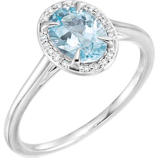 Jewelry Find 14 KT White Gold Aquamarine & .06 Carat TW Diamond Ring