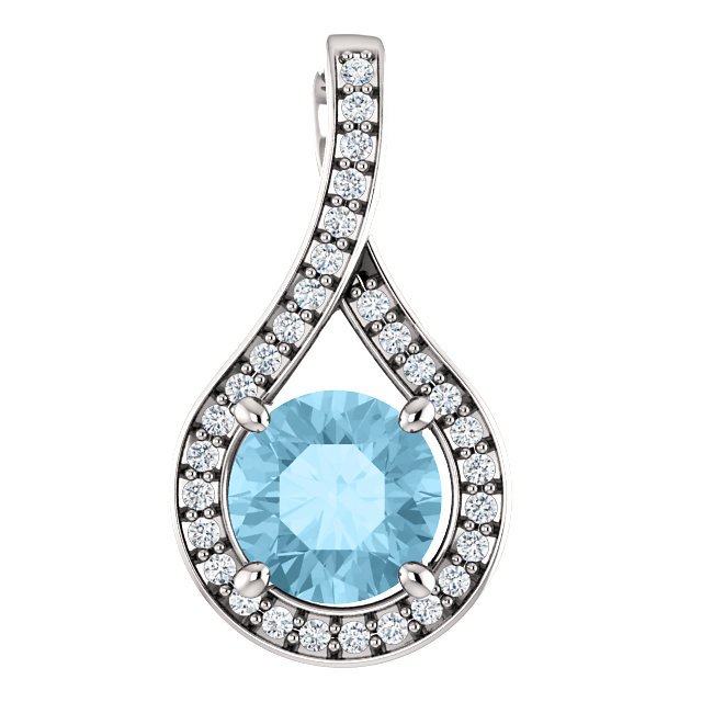 Very Nice 14 Karat White Gold Aquamarine & .08 Carat Total Weight Diamond Pendant