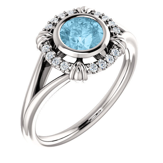 Beautiful 14 Karat White Gold Aquamarine & .08 Carat Total Weight Diamond Ring