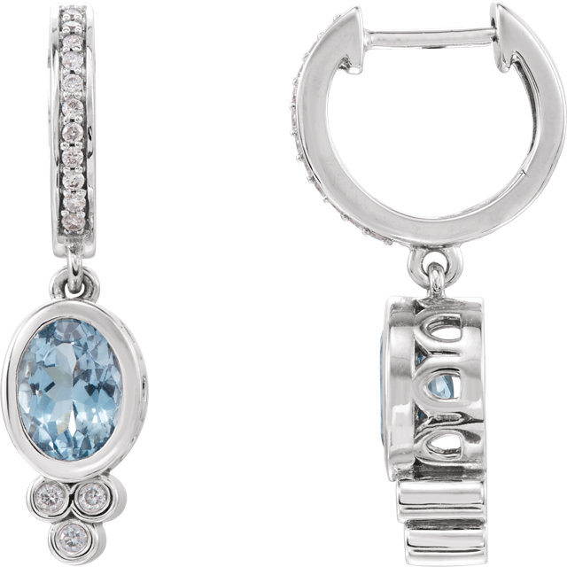 Appealing Jewelry in 14 Karat White Gold Aquamarine & 0.17 Carat Total Weight Diamond Earrings