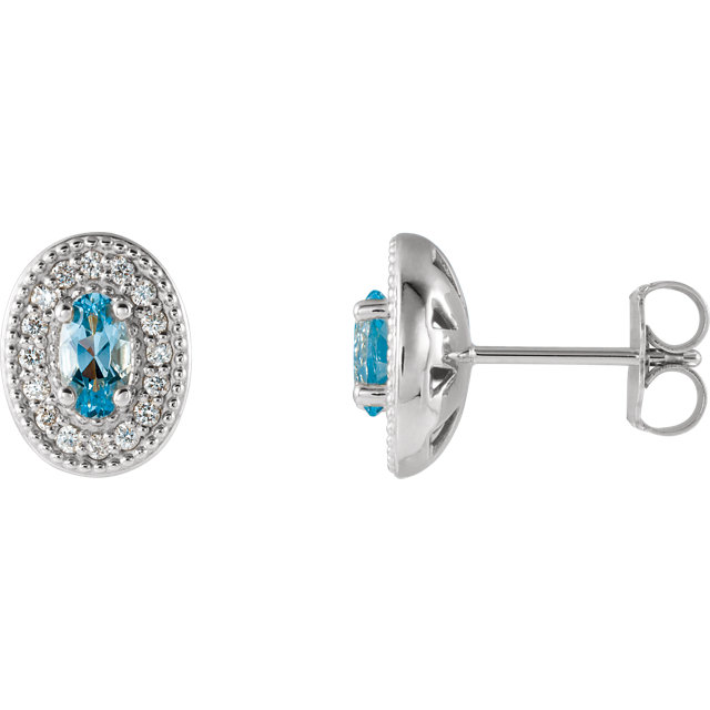 Surprise Her with  14 Karat White Gold Aquamarine & 0.17 Carat Total Weight Diamond Halo-Style Earrings