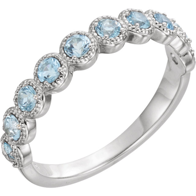 Surprise Her with  14 Karat White Gold Aquamarine Beaded Ring