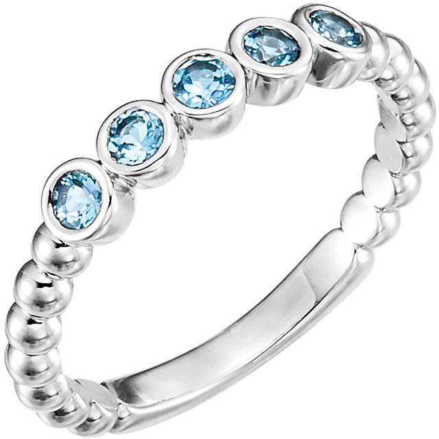Magnificent 14 KT White Gold Round Genuine Aquamarine Bezel Set Beaded Ring