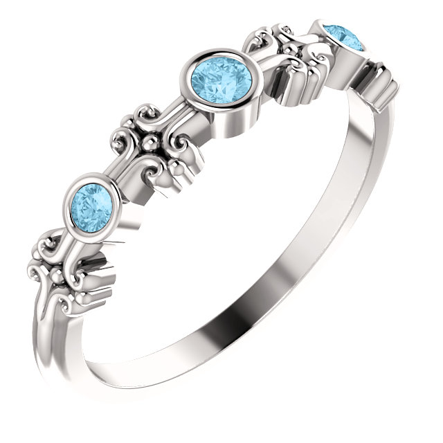 Perfect Gift Idea in 14 Karat White Gold Aquamarine Bezel-Set Ring