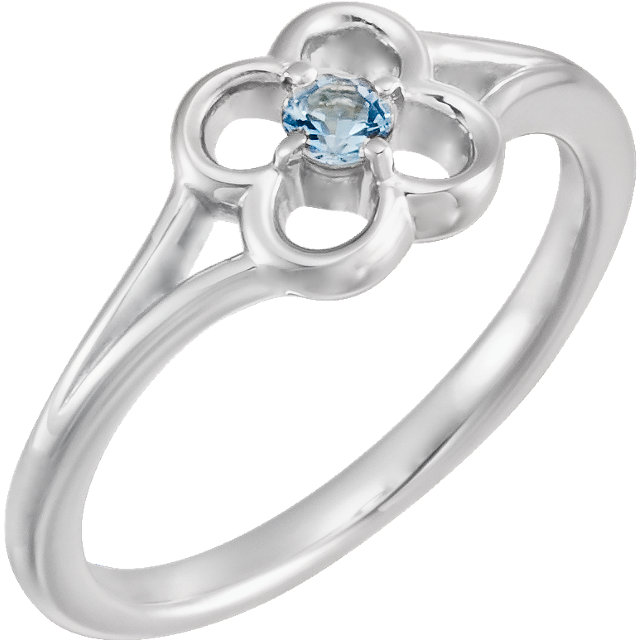 Appealing Jewelry in 14 Karat White Gold Aquamarine Flower Youth Ring
