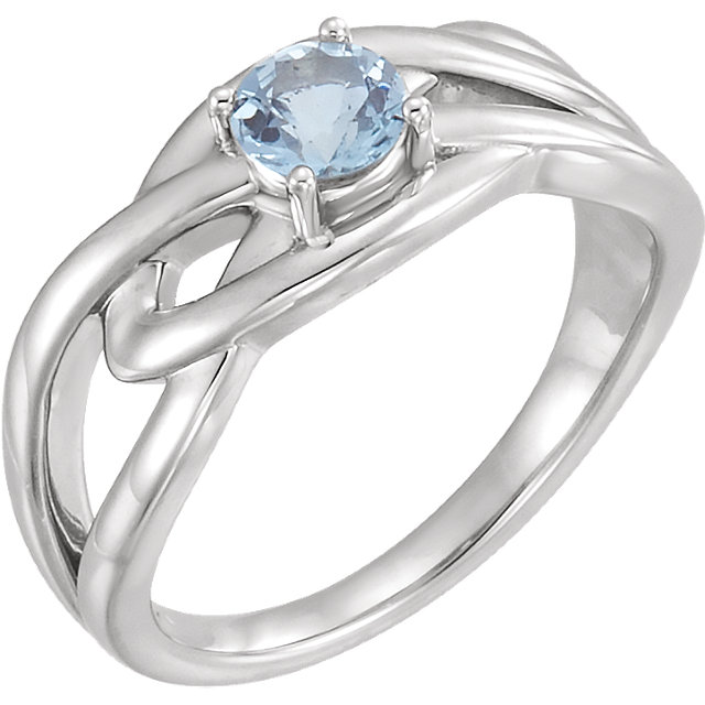 Wonderful 14 Karat White Gold Aquamarine Ring