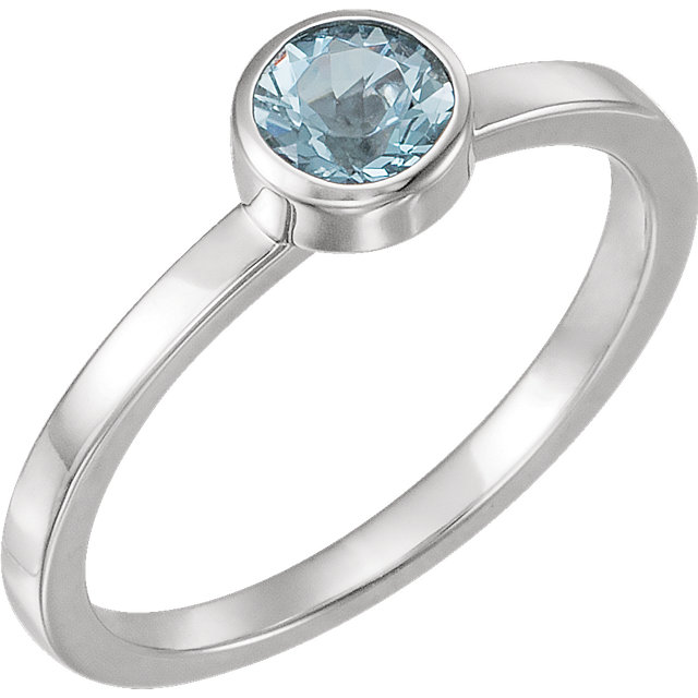 Stunning 14 Karat White Gold Aquamarine Ring