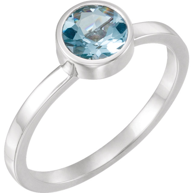 Chic 14 Karat White Gold Aquamarine Ring